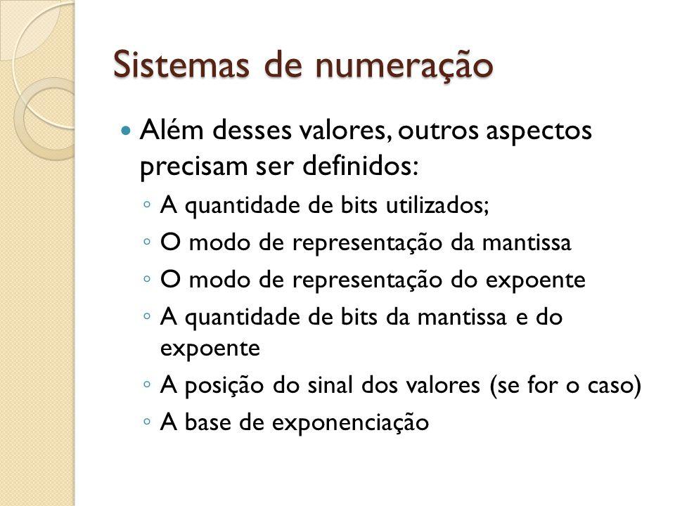 Sistemas de numeração Além desses valores, outros aspectos precisam ser definidos: A quantidade de bits utilizados; O modo de representação da mantiss