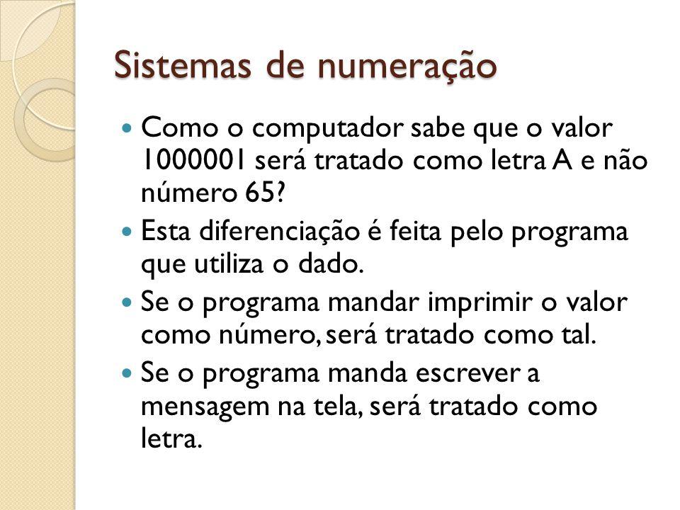 Sistemas de numeração Como o computador sabe que o valor 1000001 será tratado como letra A e não número 65? Esta diferenciação é feita pelo programa q