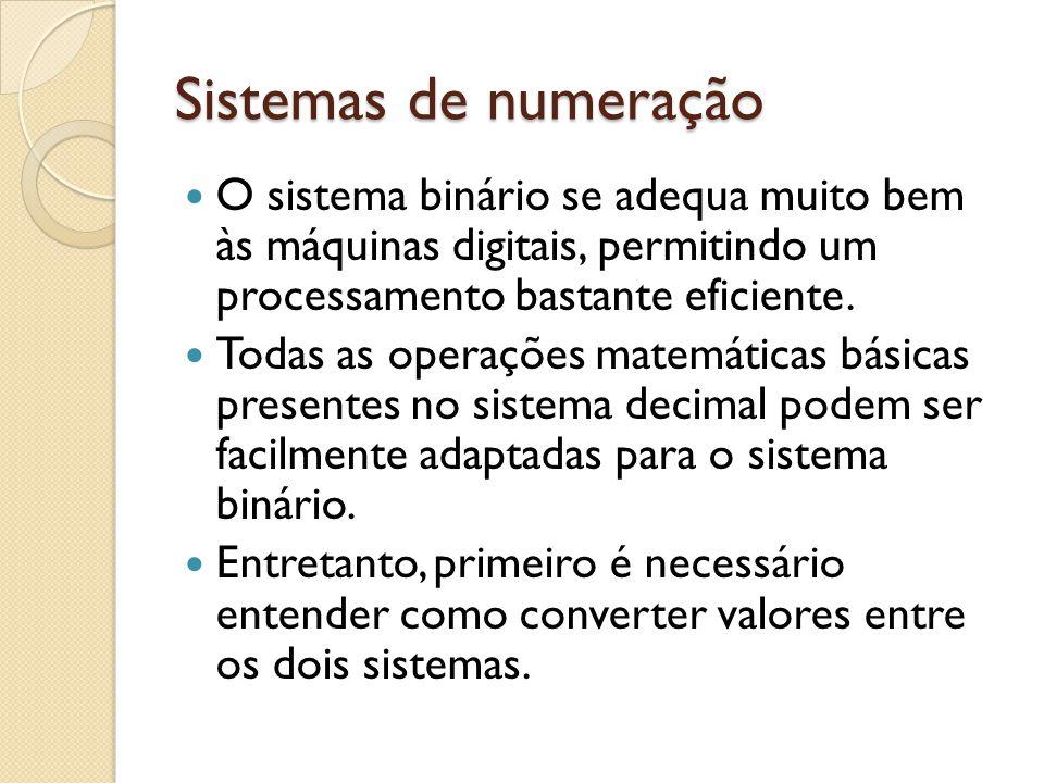 Sistemas de numeração O sistema binário se adequa muito bem às máquinas digitais, permitindo um processamento bastante eficiente. Todas as operações m