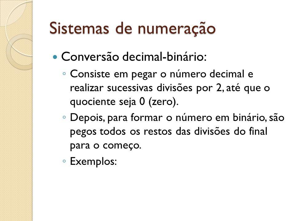 Sistemas de numeração Conversão decimal-binário: Consiste em pegar o número decimal e realizar sucessivas divisões por 2, até que o quociente seja 0 (