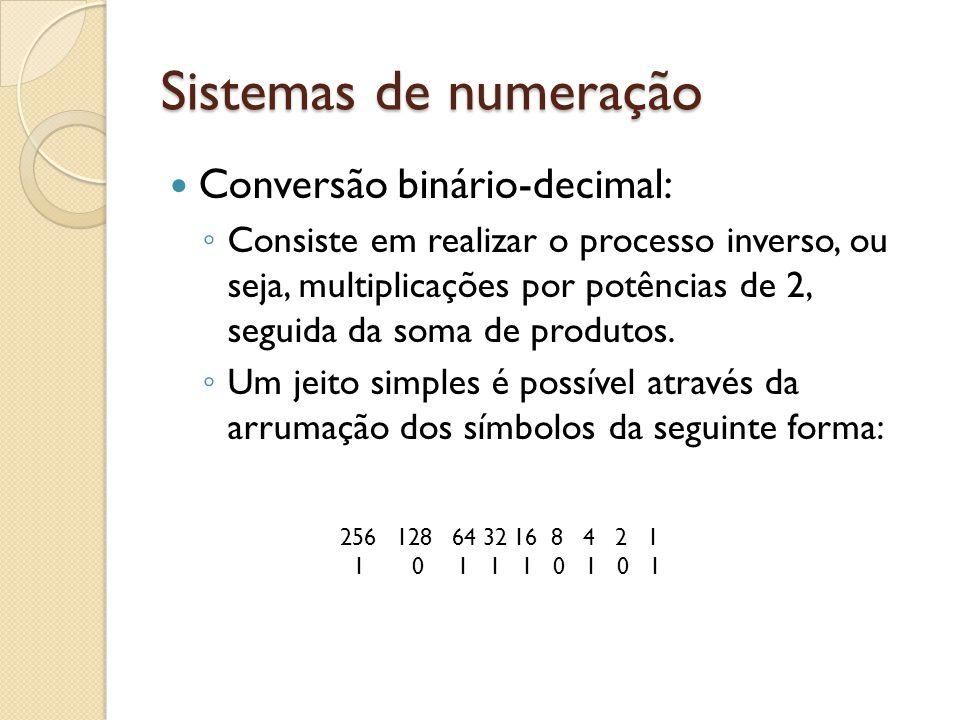 Sistemas de numeração Conversão binário-decimal: Consiste em realizar o processo inverso, ou seja, multiplicações por potências de 2, seguida da soma