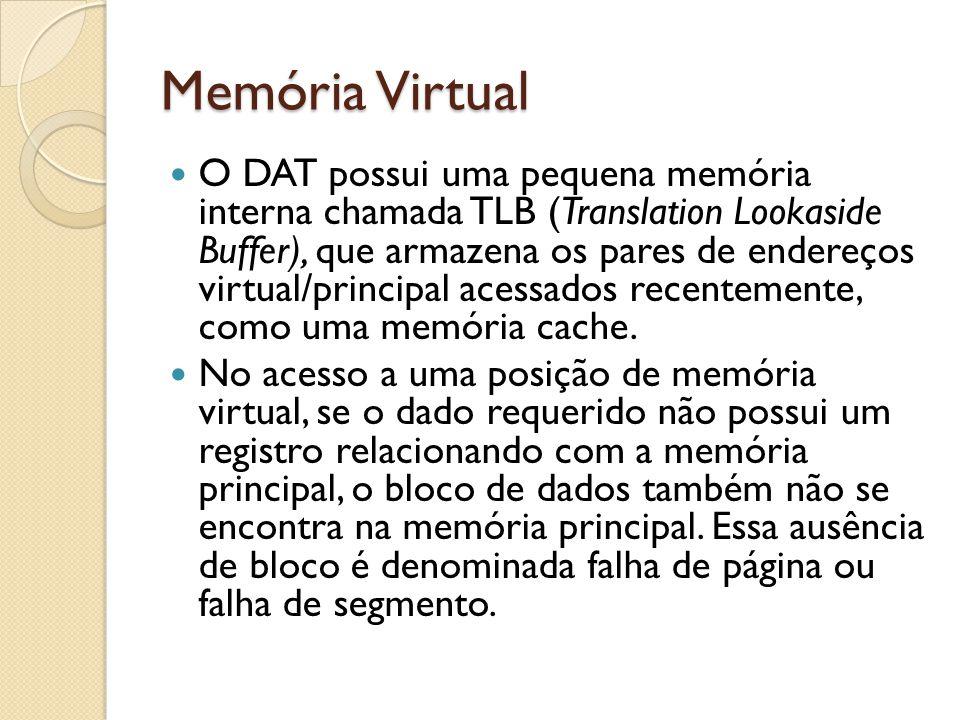 Memória Virtual O DAT possui uma pequena memória interna chamada TLB (Translation Lookaside Buffer), que armazena os pares de endereços virtual/princi