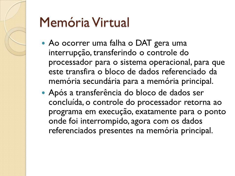 Memória Virtual Ao ocorrer uma falha o DAT gera uma interrupção, transferindo o controle do processador para o sistema operacional, para que este tran