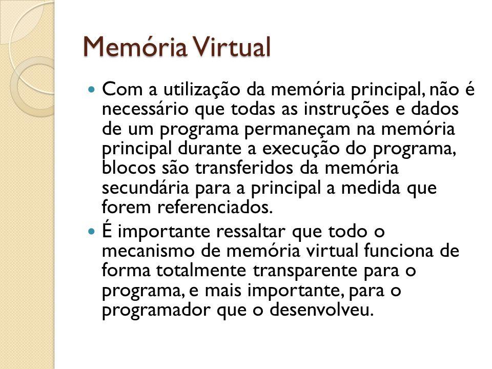 Com a utilização da memória principal, não é necessário que todas as instruções e dados de um programa permaneçam na memória principal durante a execu