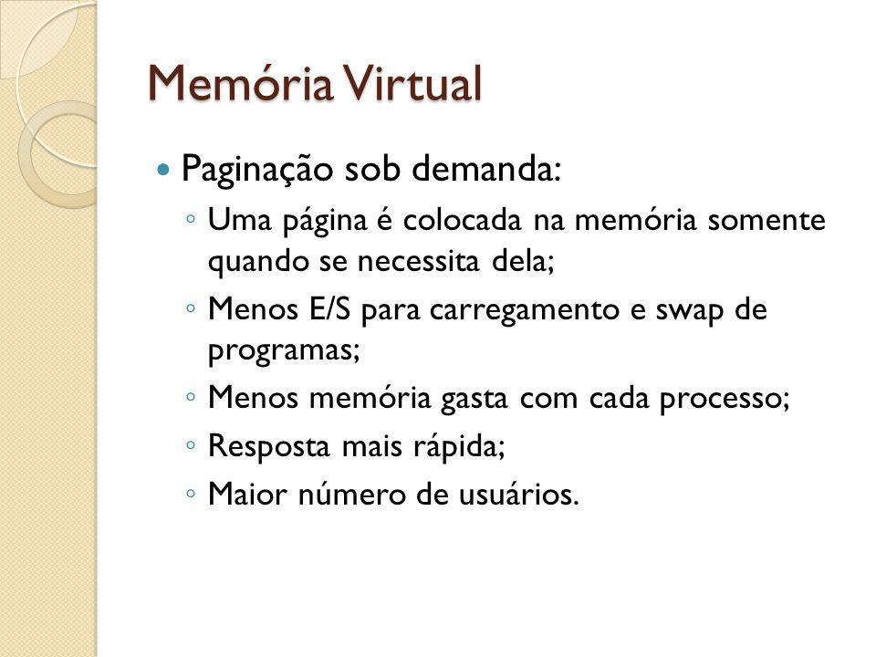 Memória Virtual Paginação sob demanda: Uma página é colocada na memória somente quando se necessita dela; Menos E/S para carregamento e swap de progra