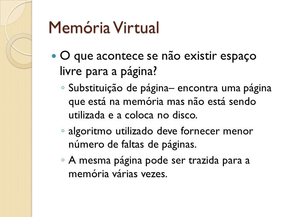 Memória Virtual O que acontece se não existir espaço livre para a página? Substituição de página– encontra uma página que está na memória mas não está