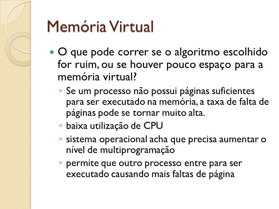 Memória Virtual O que pode correr se o algoritmo escolhido for ruim, ou se houver pouco espaço para a memória virtual? Se um processo não possui págin