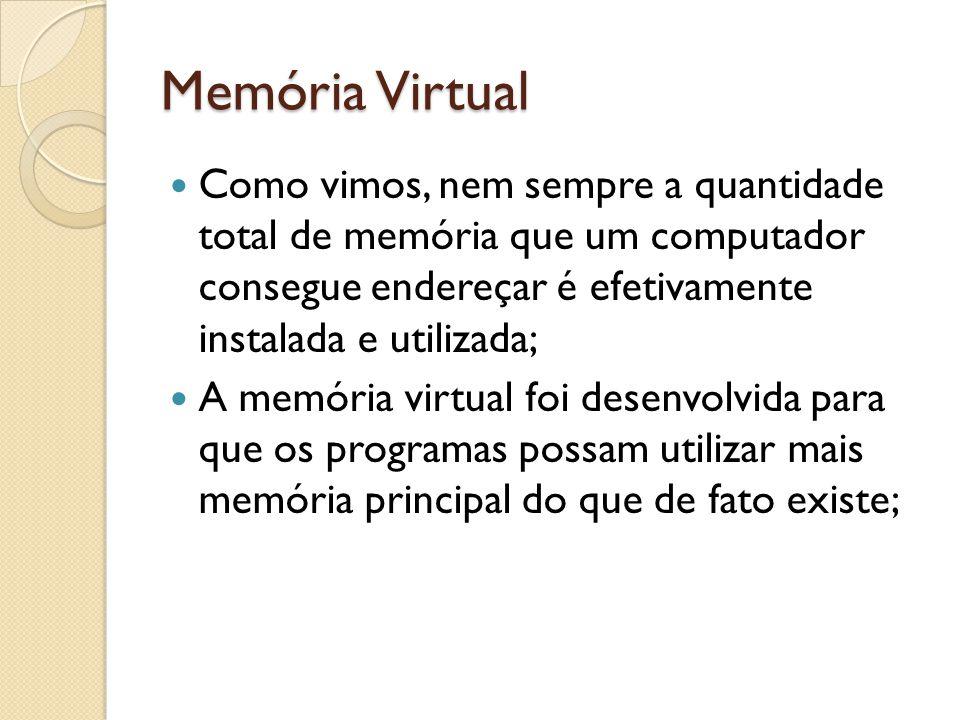 Memória Virtual Como vimos, nem sempre a quantidade total de memória que um computador consegue endereçar é efetivamente instalada e utilizada; A memó