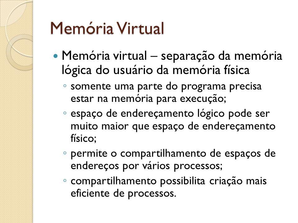 Memória Virtual Memória virtual – separação da memória lógica do usuário da memória física somente uma parte do programa precisa estar na memória para