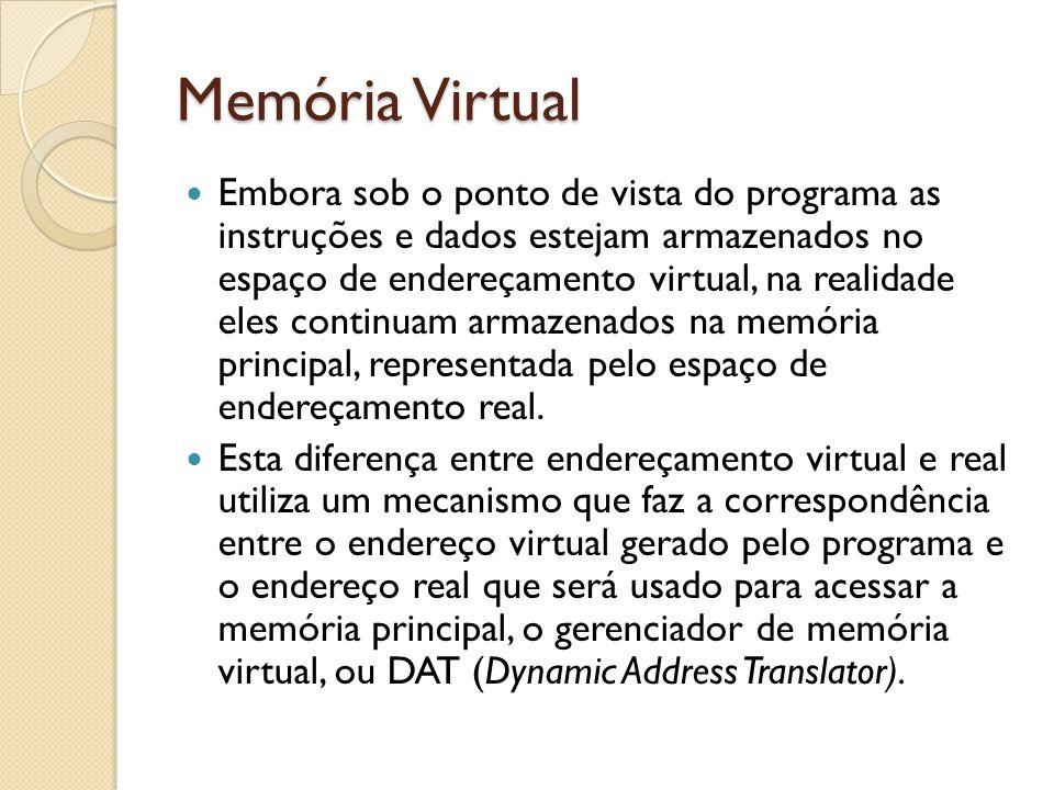 Memória Virtual Embora sob o ponto de vista do programa as instruções e dados estejam armazenados no espaço de endereçamento virtual, na realidade ele