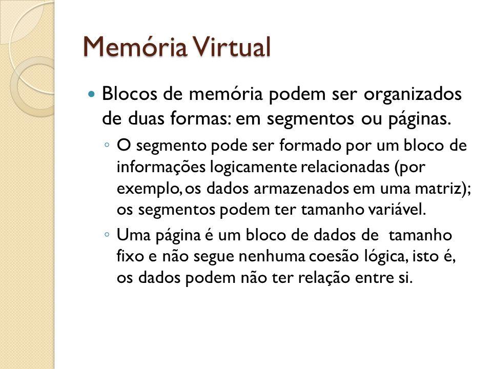 Blocos de memória podem ser organizados de duas formas: em segmentos ou páginas. O segmento pode ser formado por um bloco de informações logicamente r