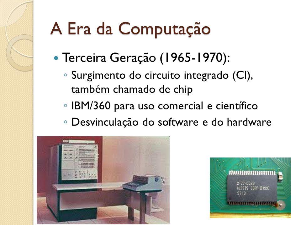 Terceira Geração (1965-1970): Surgimento do circuito integrado (CI), também chamado de chip IBM/360 para uso comercial e científico Desvinculação do software e do hardware