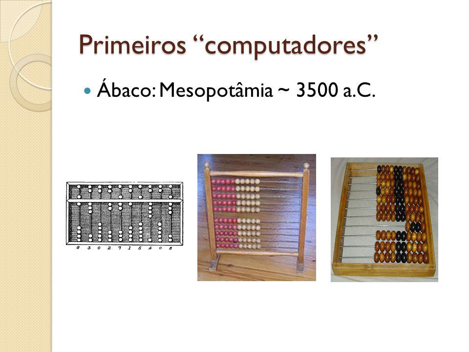Primeiros computadores Ábaco: Mesopotâmia ~ 3500 a.C.