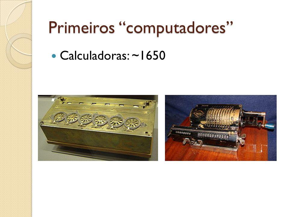 Primeiros computadores Calculadoras: ~1650