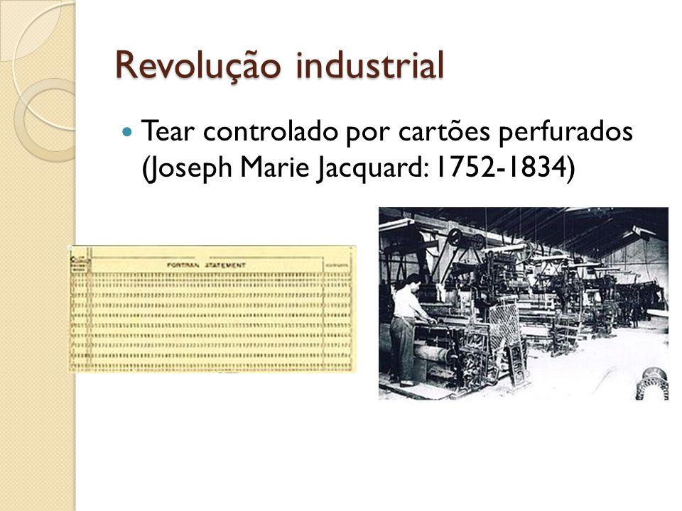 Revolução industrial Tear controlado por cartões perfurados (Joseph Marie Jacquard: 1752-1834)