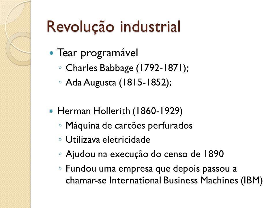 Revolução industrial Tear programável Charles Babbage (1792-1871); Ada Augusta (1815-1852); Herman Hollerith (1860-1929) Máquina de cartões perfurados Utilizava eletricidade Ajudou na execução do censo de 1890 Fundou uma empresa que depois passou a chamar-se International Business Machines (IBM)
