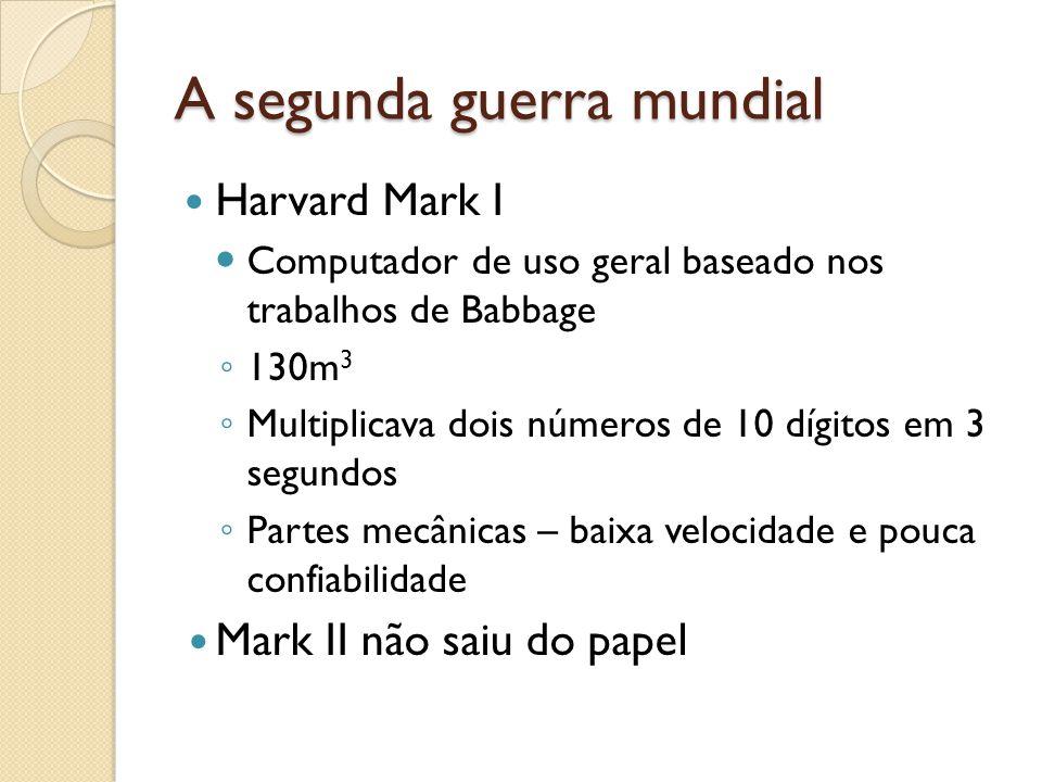 A segunda guerra mundial Harvard Mark I Computador de uso geral baseado nos trabalhos de Babbage 130m 3 Multiplicava dois números de 10 dígitos em 3 segundos Partes mecânicas – baixa velocidade e pouca confiabilidade Mark II não saiu do papel