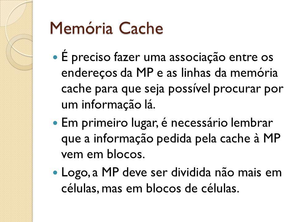 Memória Cache É preciso fazer uma associação entre os endereços da MP e as linhas da memória cache para que seja possível procurar por um informação l