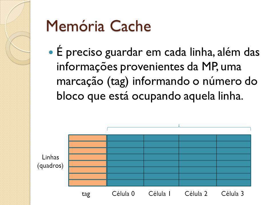 Memória Cache É preciso guardar em cada linha, além das informações provenientes da MP, uma marcação (tag) informando o número do bloco que está ocupa