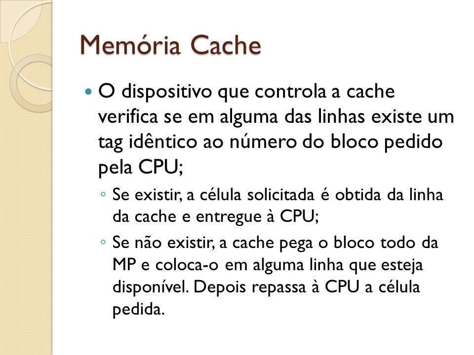 Memória Cache O dispositivo que controla a cache verifica se em alguma das linhas existe um tag idêntico ao número do bloco pedido pela CPU; Se existi