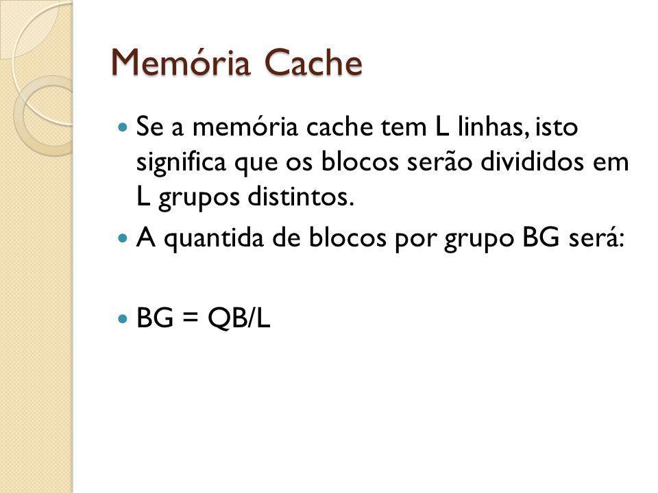 Memória Cache Se a memória cache tem L linhas, isto significa que os blocos serão divididos em L grupos distintos. A quantida de blocos por grupo BG s
