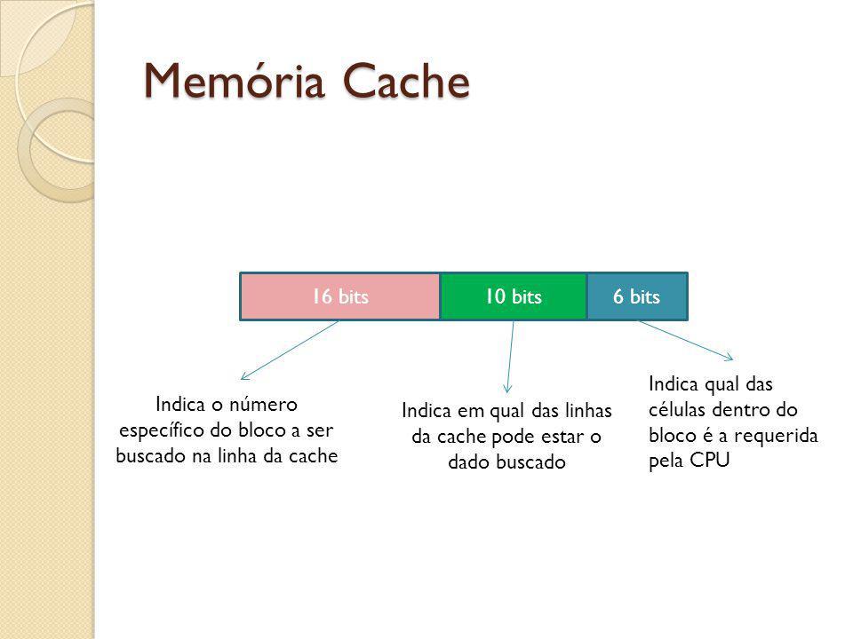 Memória Cache 16 bits10 bits6 bits Indica em qual das linhas da cache pode estar o dado buscado Indica o número específico do bloco a ser buscado na l