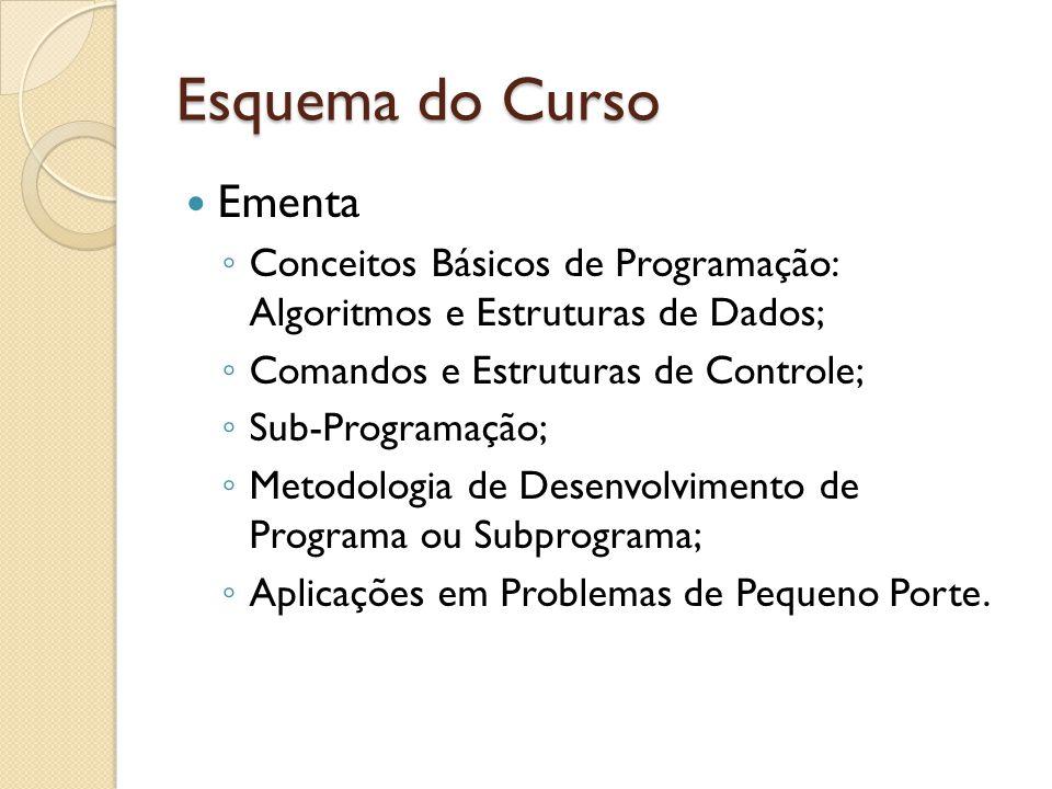 Esquema do Curso Ementa Conceitos Básicos de Programação: Algoritmos e Estruturas de Dados; Comandos e Estruturas de Controle; Sub-Programação; Metodologia de Desenvolvimento de Programa ou Subprograma; Aplicações em Problemas de Pequeno Porte.