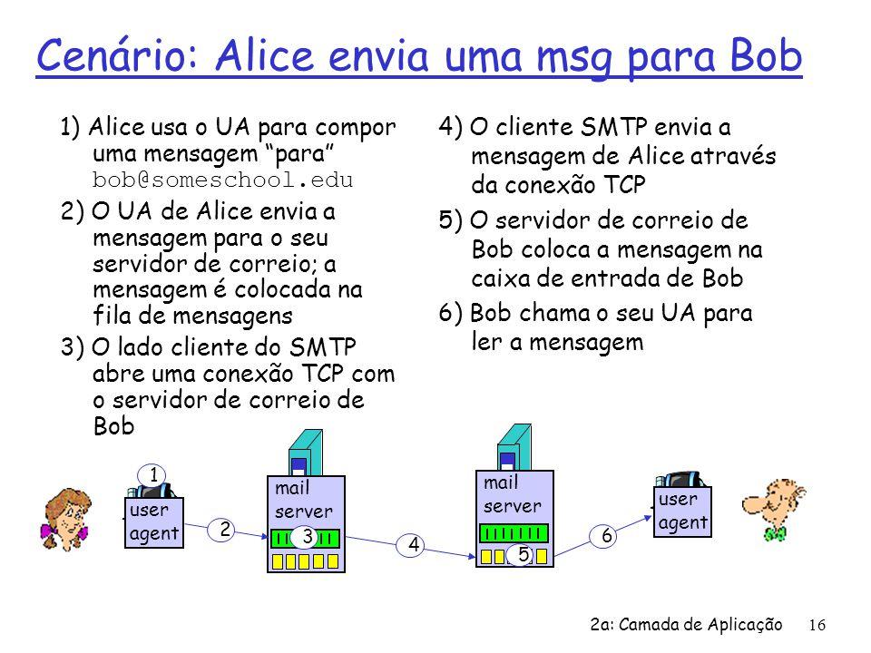 2a: Camada de Aplicação16 Cenário: Alice envia uma msg para Bob 1) Alice usa o UA para compor uma mensagem para bob@someschool.edu 2) O UA de Alice en