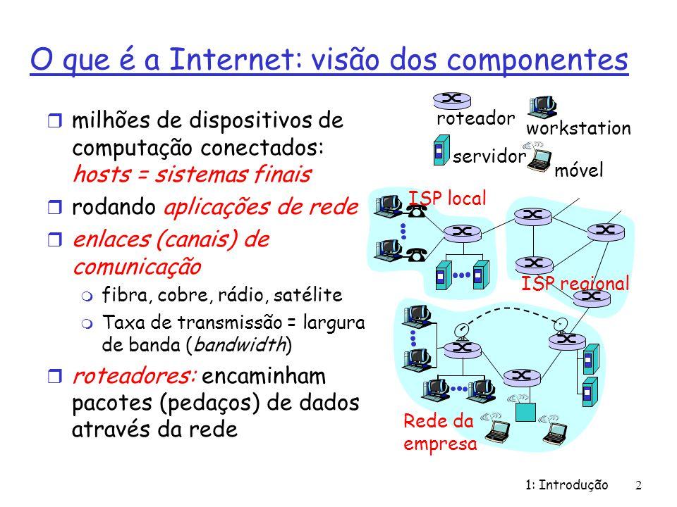 1: Introdução2 O que é a Internet: visão dos componentes r milhões de dispositivos de computação conectados: hosts = sistemas finais r rodando aplicaç