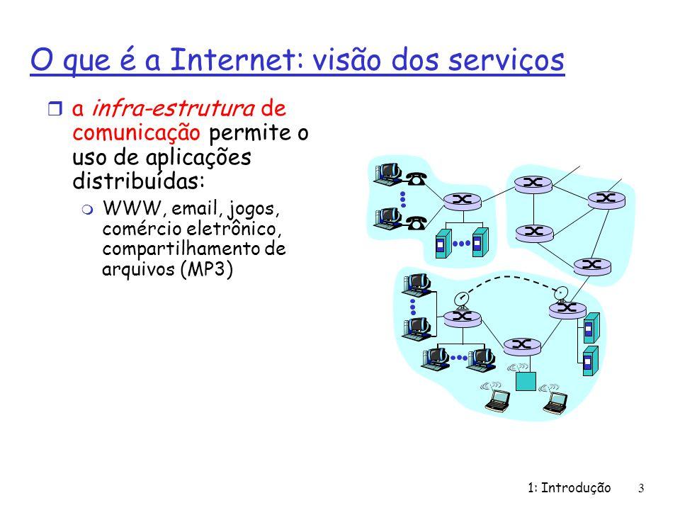 1: Introdução3 O que é a Internet: visão dos serviços r a infra-estrutura de comunicação permite o uso de aplicações distribuídas: m WWW, email, jogos