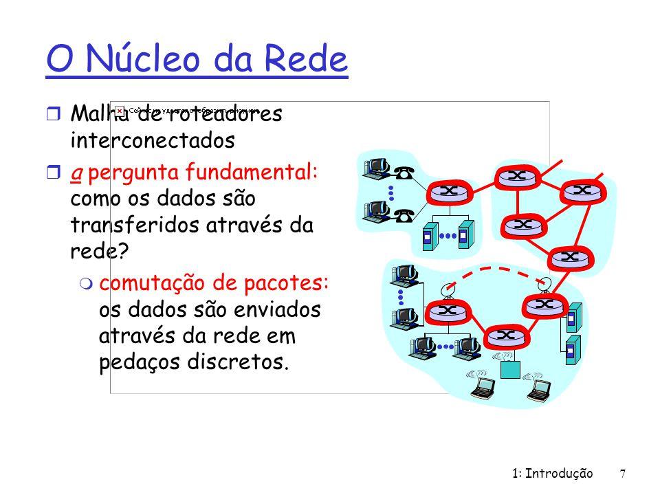 1: Introdução7 O Núcleo da Rede r Malha de roteadores interconectados r a pergunta fundamental: como os dados são transferidos através da rede? m comu