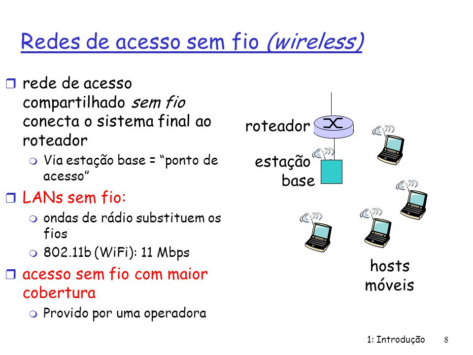 1: Introdução8 Redes de acesso sem fio (wireless) r rede de acesso compartilhado sem fio conecta o sistema final ao roteador m Via estação base = pont