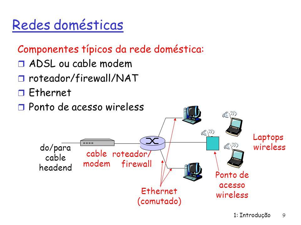 1: Introdução9 Redes domésticas Componentes típicos da rede doméstica: r ADSL ou cable modem r roteador/firewall/NAT r Ethernet r Ponto de acesso wire