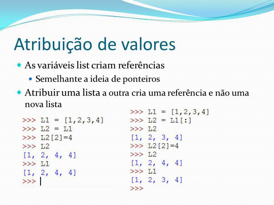Atribuição de valores As variáveis list criam referências Semelhante a ideia de ponteiros Atribuir uma lista a outra cria uma referência e não uma nov