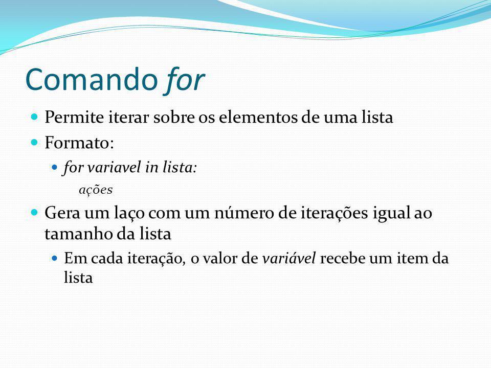 Comando for Permite iterar sobre os elementos de uma lista Formato: for variavel in lista: ações Gera um laço com um número de iterações igual ao tama