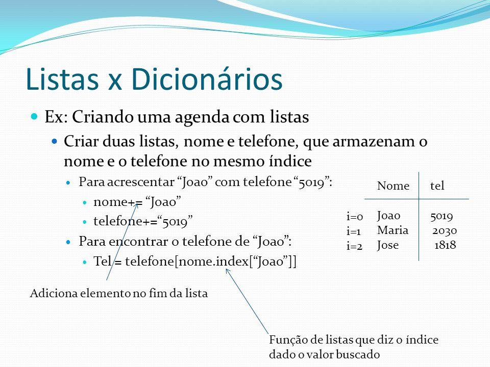 Listas x Dicionários Ex: Criando uma agenda com listas Criar duas listas, nome e telefone, que armazenam o nome e o telefone no mesmo índice Para acrescentar Joao com telefone 5019: nome+= Joao telefone+=5019 Para encontrar o telefone de Joao: Tel = telefone[nome.index[Joao]] Função de listas que diz o índice dado o valor buscado Nome tel Joao 5019 Maria 2030 Jose 1818 i=0 i=1 i=2 Adiciona elemento no fim da lista