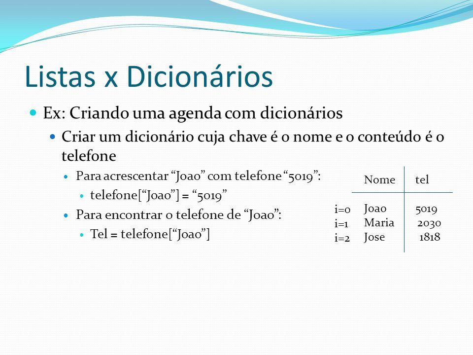Listas x Dicionários Ex: Criando uma agenda com dicionários Criar um dicionário cuja chave é o nome e o conteúdo é o telefone Para acrescentar Joao com telefone 5019: telefone[Joao] = 5019 Para encontrar o telefone de Joao: Tel = telefone[Joao] Nome tel Joao 5019 Maria 2030 Jose 1818 i=0 i=1 i=2