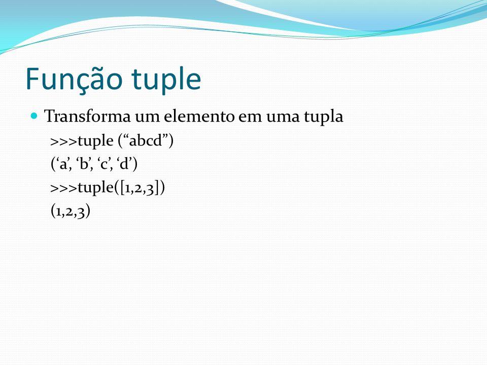 Função tuple Transforma um elemento em uma tupla >>>tuple (abcd) (a, b, c, d) >>>tuple([1,2,3]) (1,2,3)