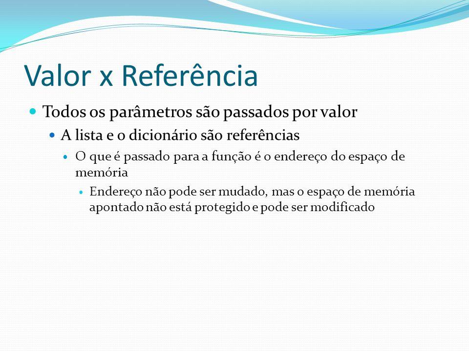 Valor x Referência Todos os parâmetros são passados por valor A lista e o dicionário são referências O que é passado para a função é o endereço do esp