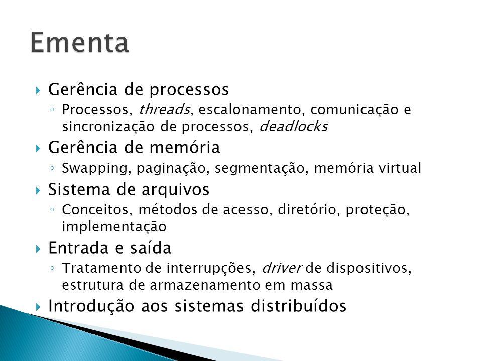 Gerência de processos Processos, threads, escalonamento, comunicação e sincronização de processos, deadlocks Gerência de memória Swapping, paginação, segmentação, memória virtual Sistema de arquivos Conceitos, métodos de acesso, diretório, proteção, implementação Entrada e saída Tratamento de interrupções, driver de dispositivos, estrutura de armazenamento em massa Introdução aos sistemas distribuídos
