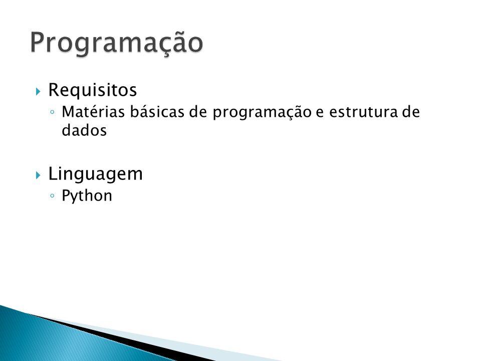 Requisitos Matérias básicas de programação e estrutura de dados Linguagem Python
