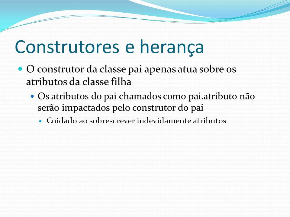 Construtores e herança O construtor da classe pai apenas atua sobre os atributos da classe filha Os atributos do pai chamados como pai.atributo não se