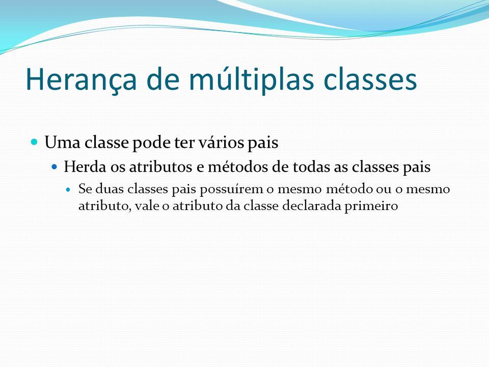 Herança de múltiplas classes Uma classe pode ter vários pais Herda os atributos e métodos de todas as classes pais Se duas classes pais possuírem o me