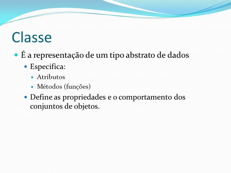Classe É a representação de um tipo abstrato de dados Especifica: Atributos Métodos (funções) Define as propriedades e o comportamento dos conjuntos d