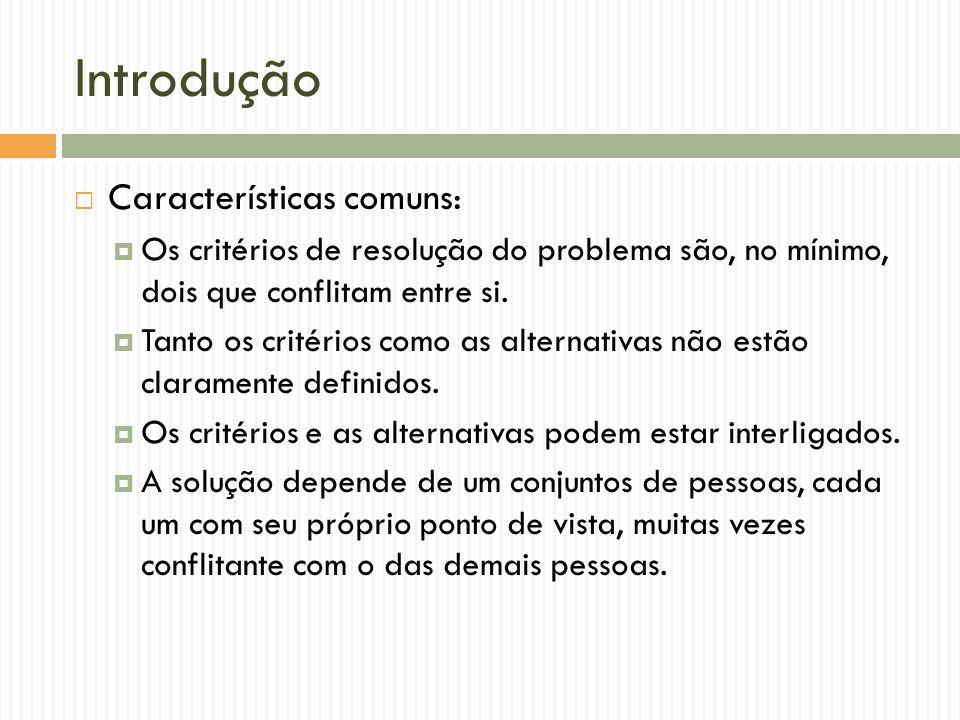 Introdução Características comuns: Os critérios de resolução do problema são, no mínimo, dois que conflitam entre si. Tanto os critérios como as alter