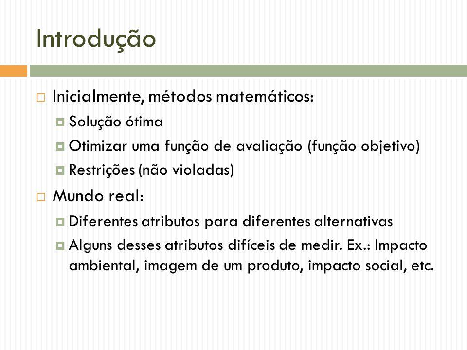 Introdução Inicialmente, métodos matemáticos: Solução ótima Otimizar uma função de avaliação (função objetivo) Restrições (não violadas) Mundo real: D
