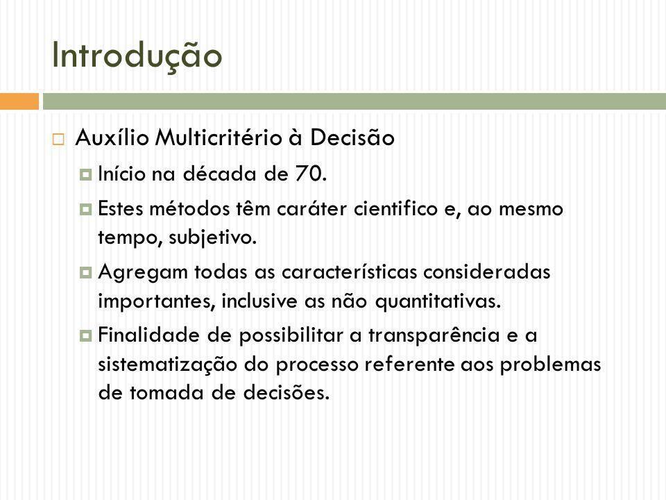 Introdução Auxílio Multicritério à Decisão Início na década de 70. Estes métodos têm caráter cientifico e, ao mesmo tempo, subjetivo. Agregam todas as