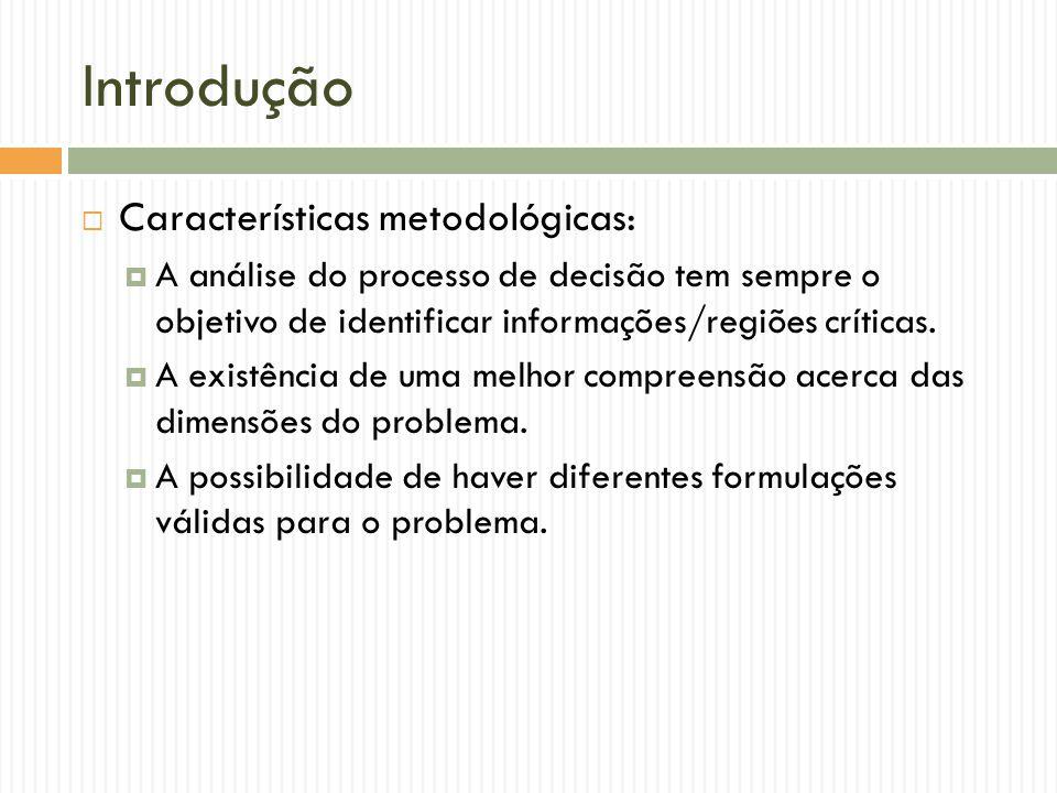 Introdução Características metodológicas: A análise do processo de decisão tem sempre o objetivo de identificar informações/regiões críticas. A existê