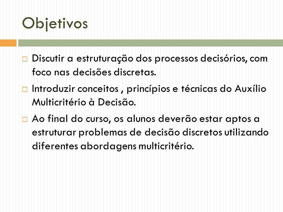 Objetivos Discutir a estruturação dos processos decisórios, com foco nas decisões discretas. Introduzir conceitos, princípios e técnicas do Auxílio Mu