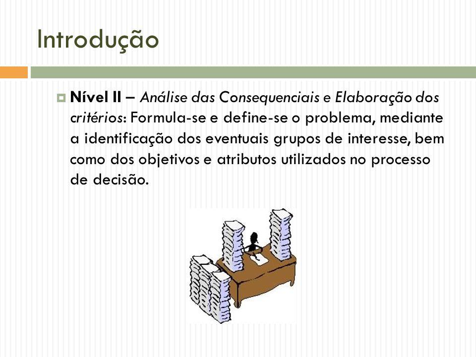 Introdução Nível II – Análise das Consequenciais e Elaboração dos critérios: Formula-se e define-se o problema, mediante a identificação dos eventuais
